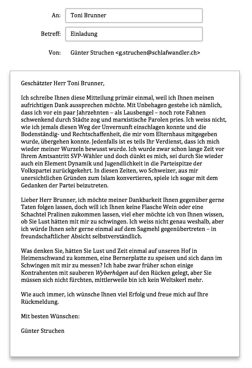Toni Brunner Anfrage