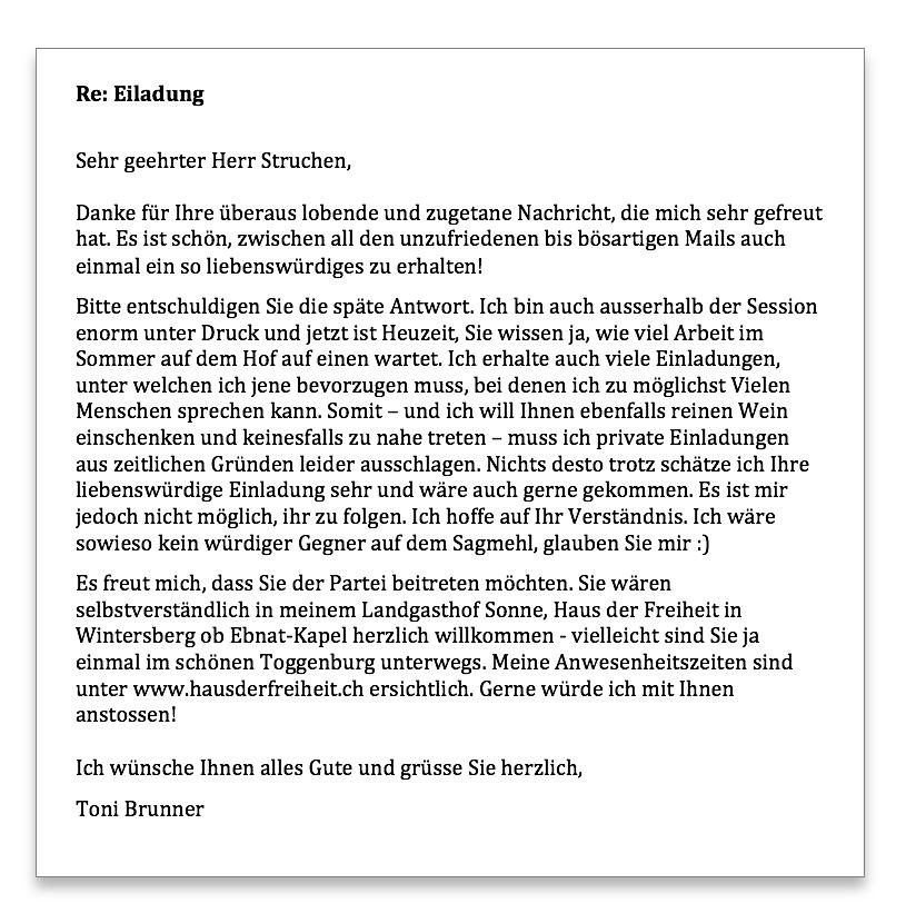Toni Brunner Antwort